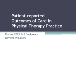 Patient-reported Outcomes of Care in Physical Therapy …
