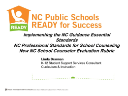 Implementing the NC Guidance Essential Standards using …
