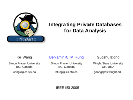 Integrating Private Databases for Data Analysis