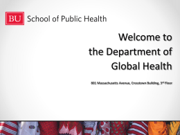 Welcome to the Department of International Health