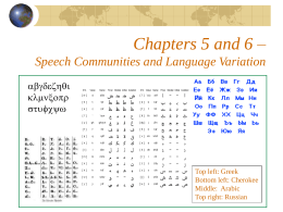 Chapters 5 and 6 – Speech Communities and Language …