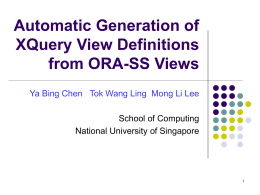 Automatic Generation of XQuery View Definitions from …