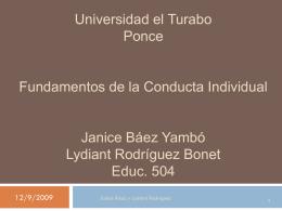 Universidad el Turabo Ponce Fundamentos de la Conducta