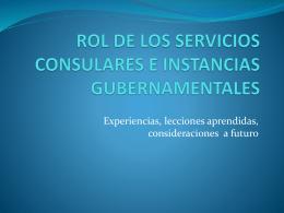 ROL DE LOS SERVICIOS CONSULARES E INSTANCIAS …