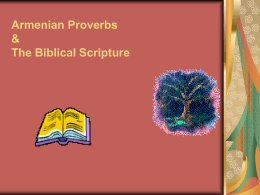 Armenian Proverbs & The Biblical Scripture A Work