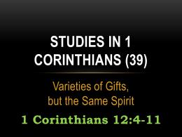 Studies in 1 Corinthians (39)