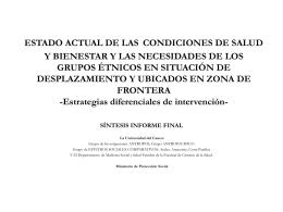 ESTADO ACTUAL DE LAS CONDICIONES DE SALUD Y …