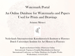 Watermark Portal An Online Database for Watermarks and