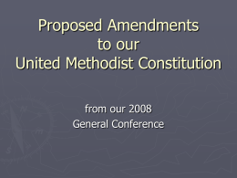 Proposed Amendments to our Book of Discipline