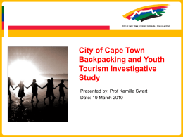 City of Cape Town Backpacking and Youth Tourism