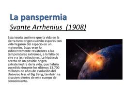 La panspermia Svante Arrhenius (1908)
