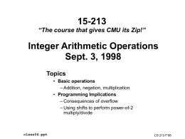 Integer Arithmetic - Carnegie Mellon University