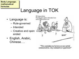 Language in TOK
