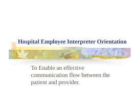 Hospital Employee Interpreter Orientation