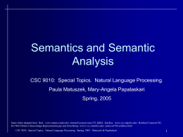 CSC 9010: Special Topics. Natural Language Processing