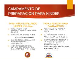 CAMPAMENTO DE PREPARACION PARA KINDER