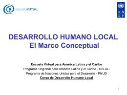 Desarrollo Humano y Desarrollo Local