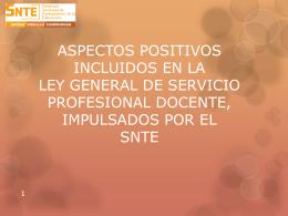 ASPECTOS POSITIVOS INCLUIDOS EN LA LEY GENERAL DE …