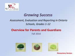 Elementary - Overview of Growing Success for Parents