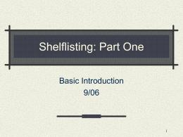 Shelflisting - Yale University Library