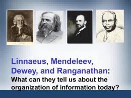 Linnaeus, Mendeleev, Dewey, And Ranganathan
