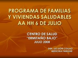 PROGRAMA DE FAMILIAS Y VIVIENDAS SALUDABLES AA …