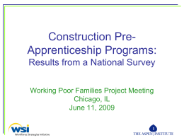 Construction Pre-Apprenticeship Programs: Results from …