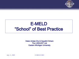Showroom of Best Practice - E-MELD