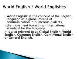 World English / World Englishes