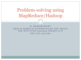 Problem-solving using MapReduce/Hadoop