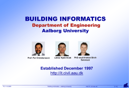 BUILDING INFORMATICS the Department of Building …