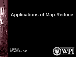 WPI - Applications of Map Reduce