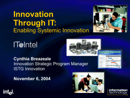 Innovation Through IT: Enabling Systemic Innovation