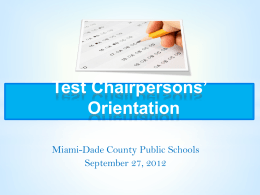 Test Chairpersons' Orientation - Miami