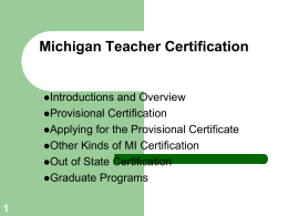 Michigan Teacher Certification