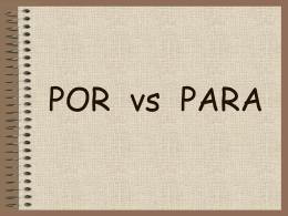 POR vs PARA