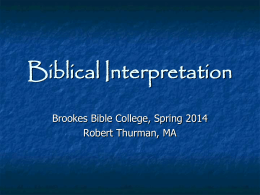 Biblical Interpretation - Forest Park Bible Church of St