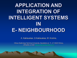 APPLICATION AND INTEGRATION OF INTELLIGENT …