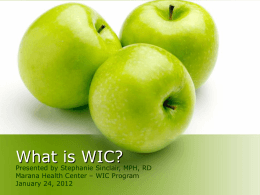 What is WIC? - University of Arizona Department of …