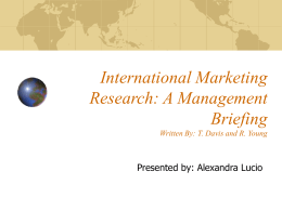 International Marketing Research: A Management Briefing