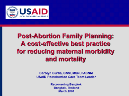 Postabortion Family Planning Why be Involved