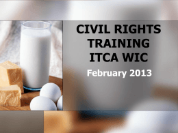 CIVIL RIGHTS TRAINING FOR CHICAGO WIC