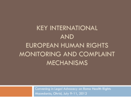 International and European human rights complaint …