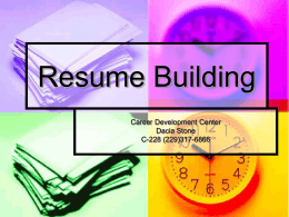 Resume Building - Darton State College