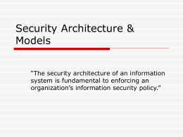 Security Architecture & Models