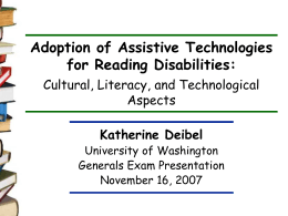 Adoption of Assistive Technologies for Reading