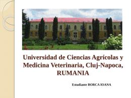 Universidad de Ciencias Agricolas y Medicina Veterinaria