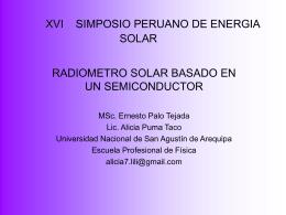 XVI SIMPOSIO PERUANO DE ENERGIA SOLAR