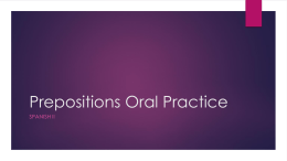 Prepositions Oral Practice