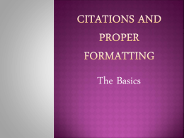 Citations and proper formatting